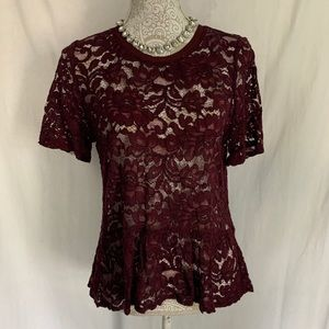 Loft // Maroon Floral Lace Short Sleeve Top M